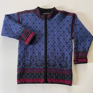 Dale of Norway Lined Zip Wool Floral Sweater Small